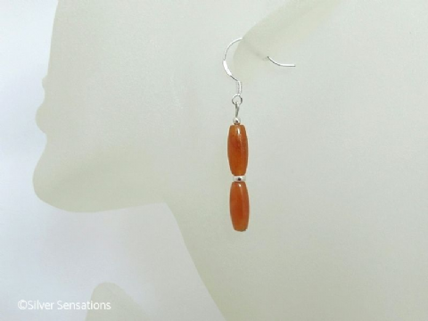 Dark Orange Red Aventurine Rice Beads & Sterling Silver Earrings